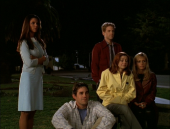 © Capture d'écran, fin saison 3 - Le Scooby-Gang (Cordelia, Xander, Oz, Willow, Buffy)