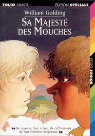Couverture de l'édition jeunesse - © http://www.gallimard.fr/Catalogue/GALLIMARD-JEUNESSE/Folio-Junior/Folio-Junior/Sa-Majeste-des-Mouches3