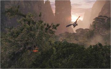 Avatar de James Cameron : la forêt de Pandora et un hélico terrien - © http://www.allocine.fr/film/fichefilm-61282/photos/detail/?cmediafile=19189340